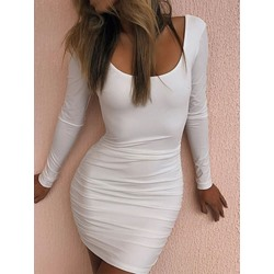Backless Above Knee Long Sleeve Bodycon Women's Dress
