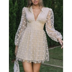 See-Through Above Knee V-Neck A-Line Women's Dress