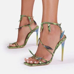 Shoespie Stylish Square Toe Stiletto Heel Ankle Strap Mid-Cut Upper Sandals