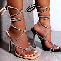 Shoespie Trendy Square Toe Stiletto Heel Lace-Up Plain Sandals