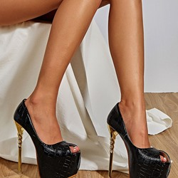 Shoespie Sexy Peep Toe Stiletto Heel Platform Low-Cut Upper Thin Shoes