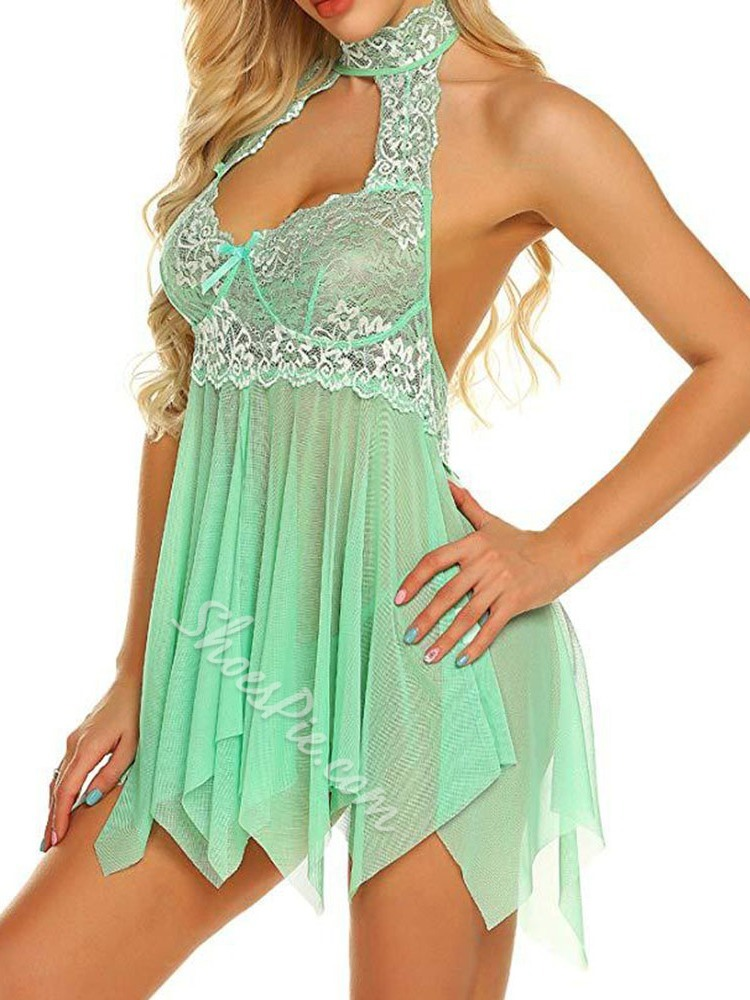 Halter Lace Lace Above Knee Sleeveless Dresses