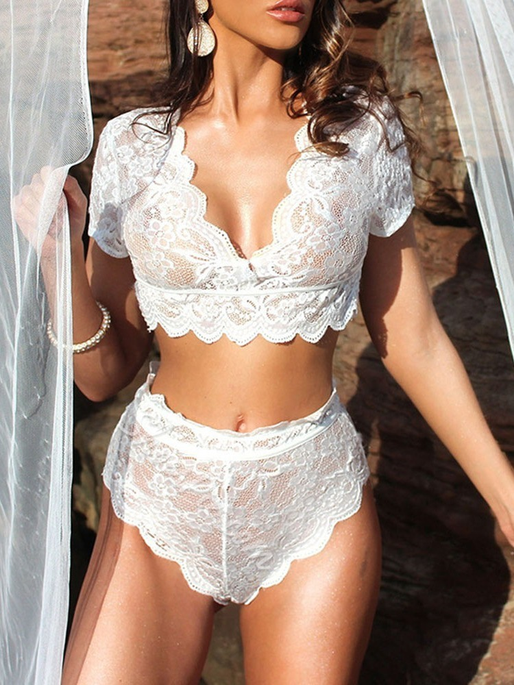 Lace Plain Tight Wrap Lace Short Sleeve Sexy Sets