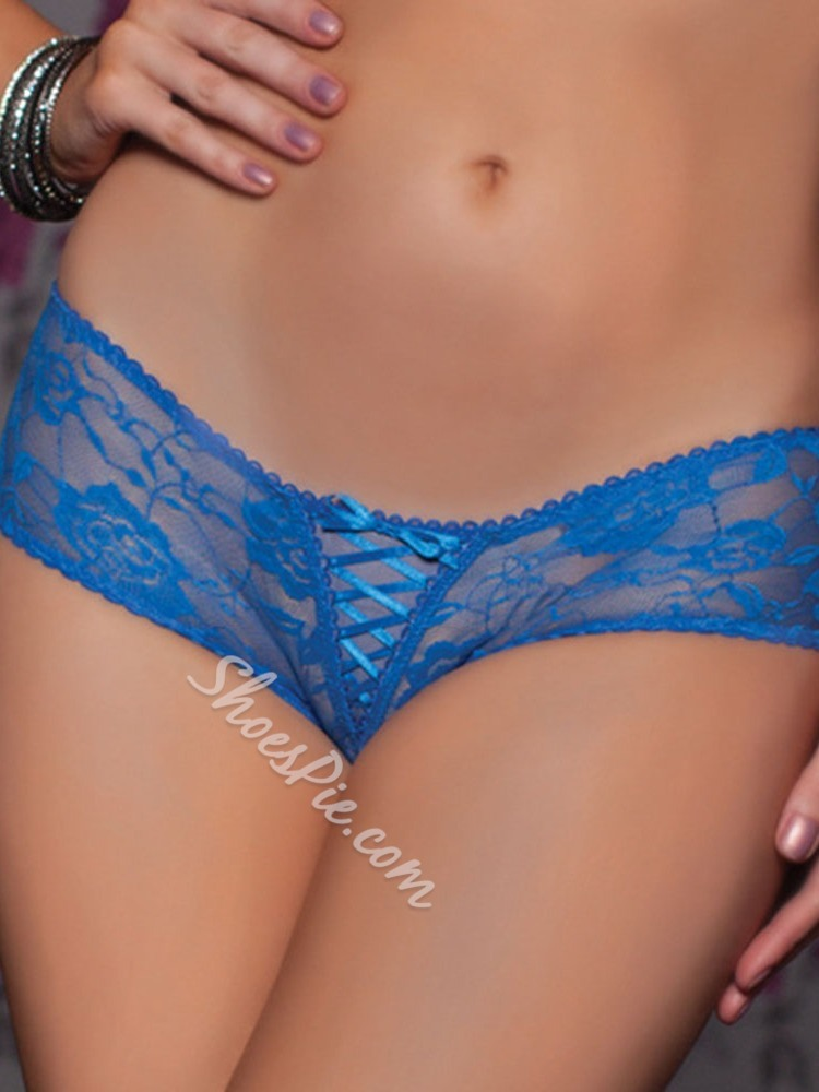 Plain Lace Crotchless Lace Panties