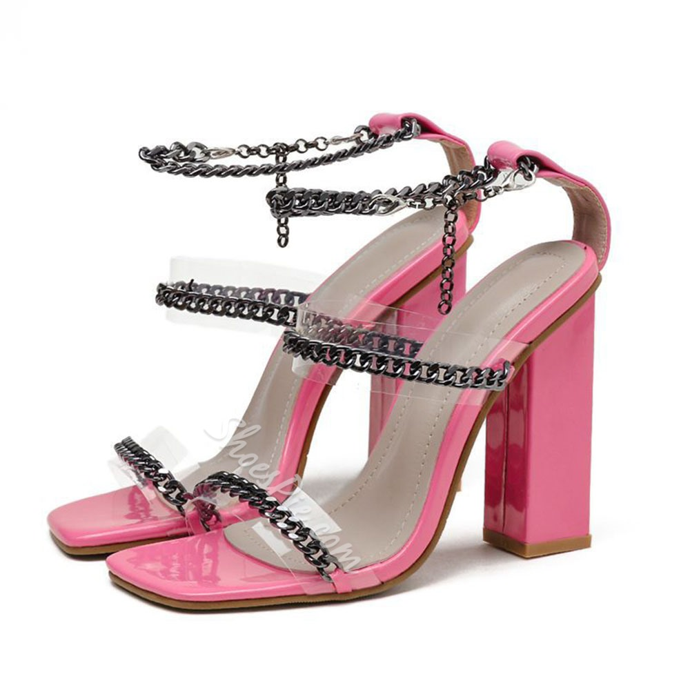 Shoespie Stylish Chunky Heel Buckle Square Toe Buckle Sandals