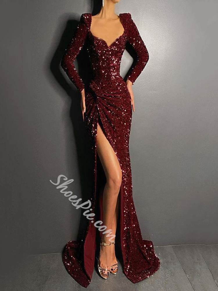 Floor-Length Long Sleeve Split Trumpet Women's Dress
