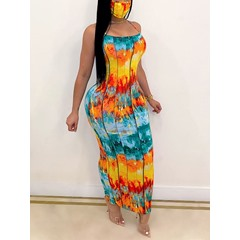 Print Sleeveless Floor-Length Bodycon Women's Dress