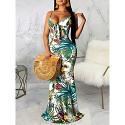 Floor-Length Print V-Neck Floral Women's Dress
