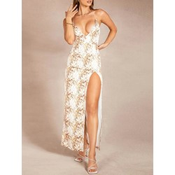 Floor-Length Print Sleeveless Bodycon Women's Dress