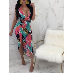 Ankle-Length Sleeveless V-Neck Asymmetrical Women's Dress
