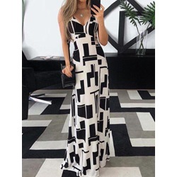 V-Neck Floor-Length Patchwork A-Line Women's Dress