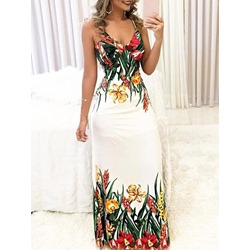 Patchwork V-Neck Sleeveless Floral Women's Dress