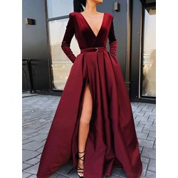 Long Sleeve Split V-Neck Dress Women's Dress