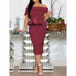 Split Short Sleeve Mid-Calf Regular Women's Dress