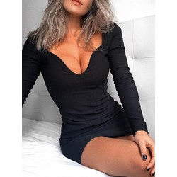 Above Knee Long Sleeve Bodycon Women's Dress