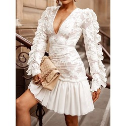 Above Knee Long Sleeve Embroidery Summer Women's Dress