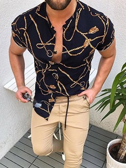 Fashion Print Lapel Single-Breasted Summer Shirt