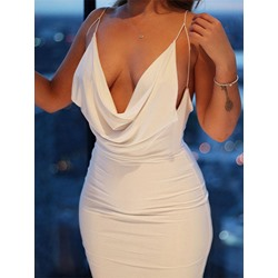 Sleeveless Knee-Length Plain Women's Dress