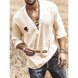 European V-Neck Lace-Up Spring Loose Shirt