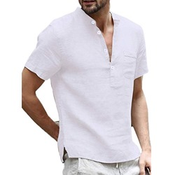 Button Casual Stand Collar Slim Summer Shirt