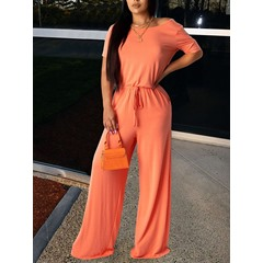 Casual Patchwork Full Length Straight Women's Jumpsuit