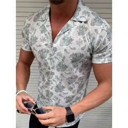 Print Geometric Lapel Summer Single-Breasted Shirt