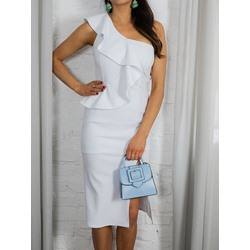 Mid-Calf Cap Sleeve Asymmetric Bodycon Women's Dress