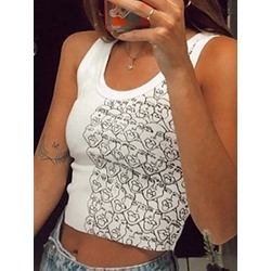 Print Polyester Summer Short Women's Tank Top