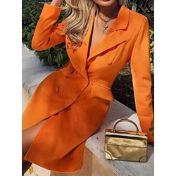 Button Long Sleeve Notched Lapel Bodycon Women's Dress