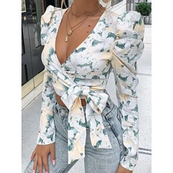 Floral V-Neck Bowknot Short Women's Blouse