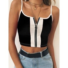 Zipper Summer Spaghetti Straps Short Women's Tank Top