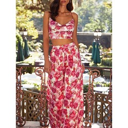Print Pants Floral Wide Legs Women's Two Piece Sets