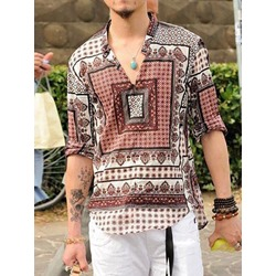 Geometric Casual Print Straight Summer Shirt