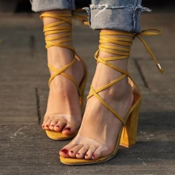 Shoespie Stylish Chunky Heel Open Toe Lace-Up Casual Sandals