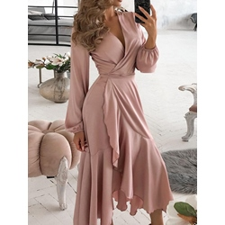 Asymmetric Long Sleeve V-Neck Fall Women's Dress