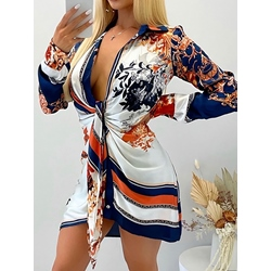 Long Sleeve Print Above Knee Sexy Women's Dress