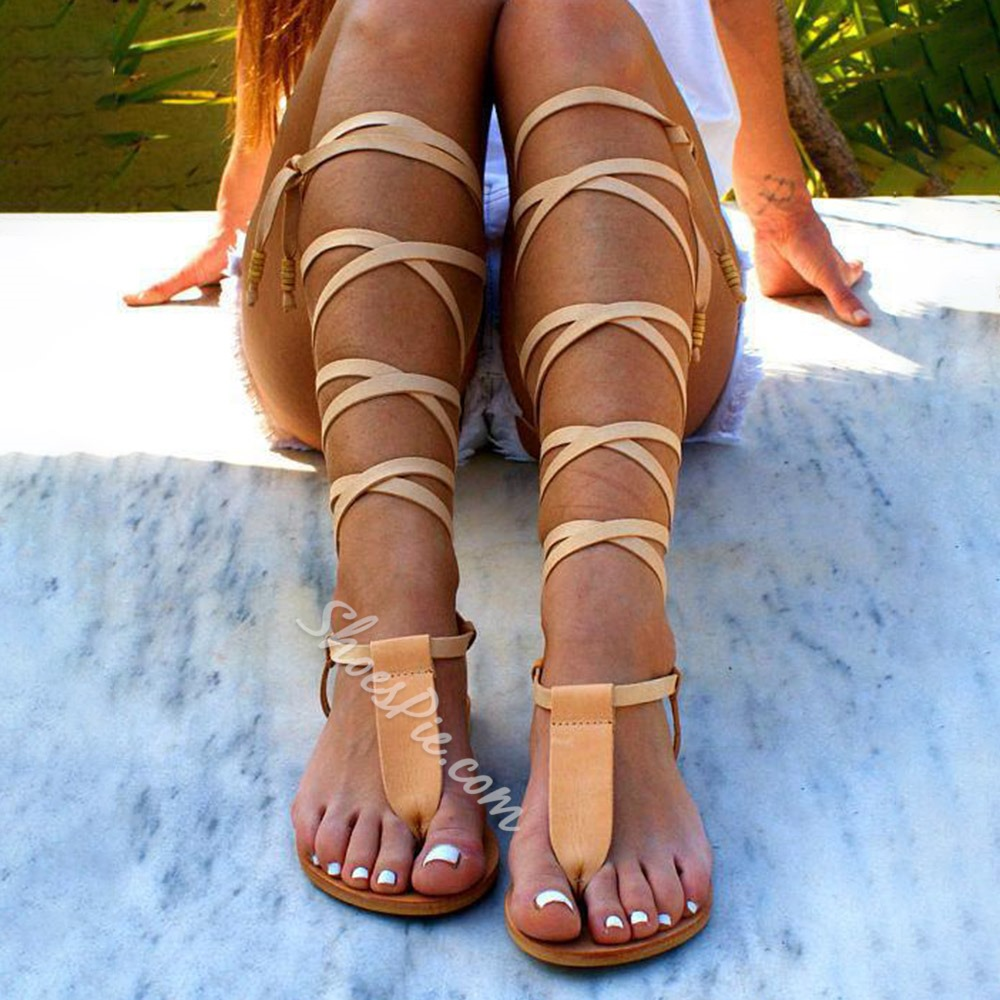 Shoespie Stylish Lace-Up Flat With Thong Beach Sandals