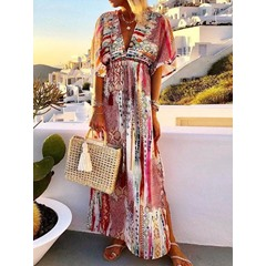 Floor-Length Half Sleeve Casual Loose Bohemian Dress