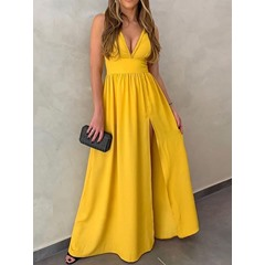 Yellow Split Sleeveless V-Neck Casual Long Dress