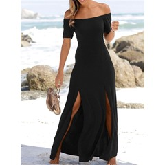 Off Shoulder Floor-Length Split Maxi Dress