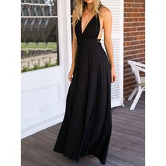 Floor-Length Sleeveless V-Neck Slip Backless Long Dress