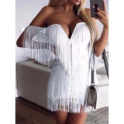 Above Knee Tassel Three-Quarter Sleeve Sexy Flapper Mini Dress