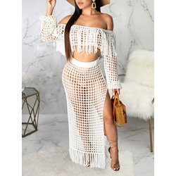 See-Through Plain Fashion Bodycon Women's Two Piece Sets