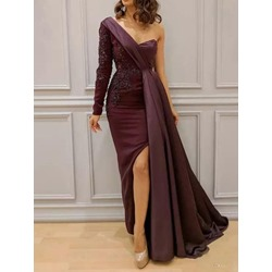 Long Sleeve Floor-Length Split Bodycon Women's Dress