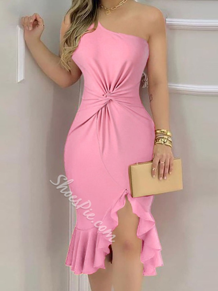One Shoulder Mid-Calf Sleeveless Solid Dress