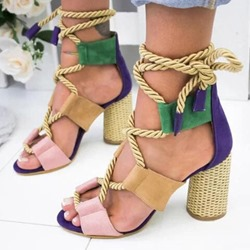 Shoespie Trendy Lace-Up Open Toe Chunky Heel Color Block Sandals