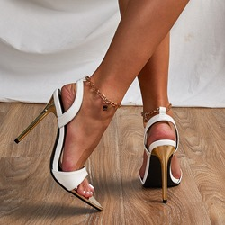 Shoespie Sexy Line-Style Buckle Stiletto Heel Open Toe Korean Sandals