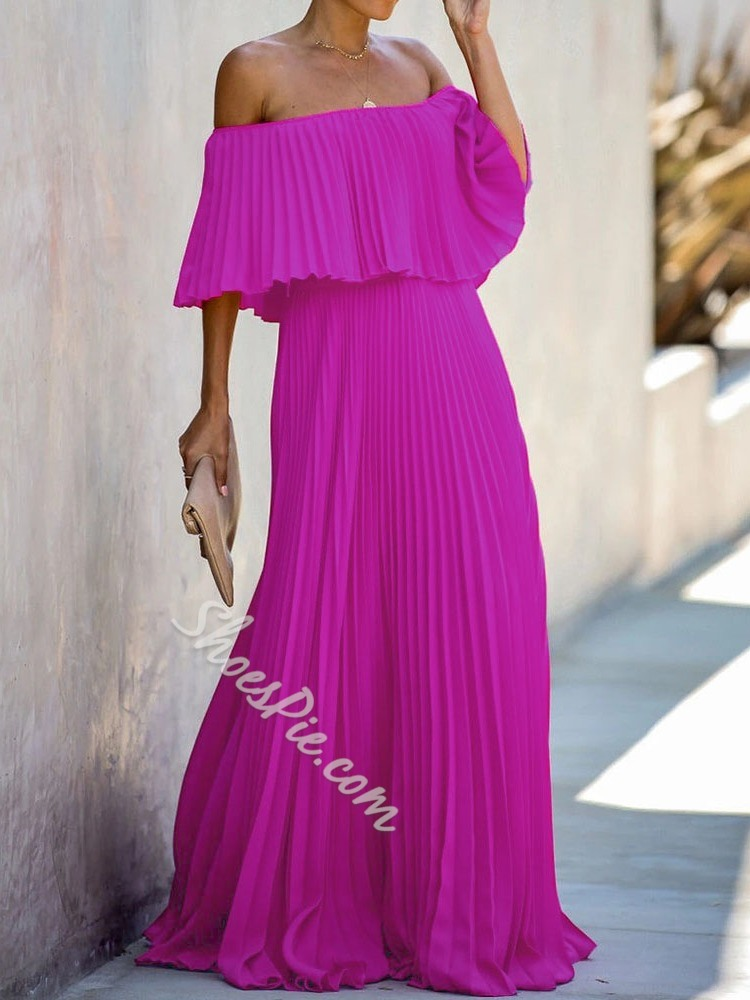 Off Shoulder Pleated Floor-Length Party/Cocktail Women's Dress
