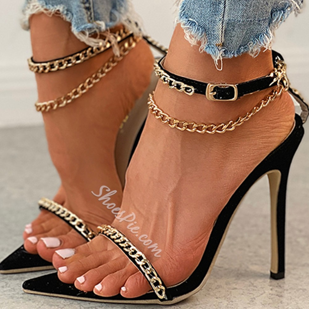 Shoespie Trendy Open Toe Stiletto Heel Buckle Sequin Sandals