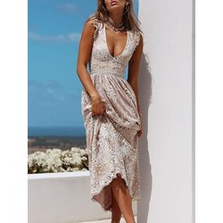 Sleeveless V-Neck Ankle-Length High Waist Women's Dress